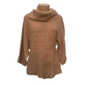 Rock Gal Draped Cowl Neck Tan Knitted Sweater M